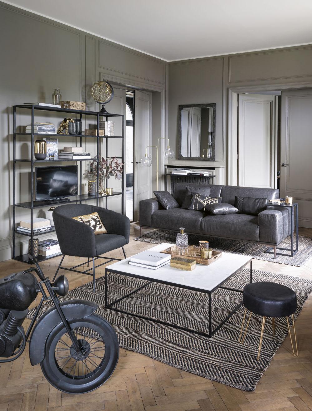 Tavolino da salotto quadrato in marmo bianco e metallo nero Marble ...