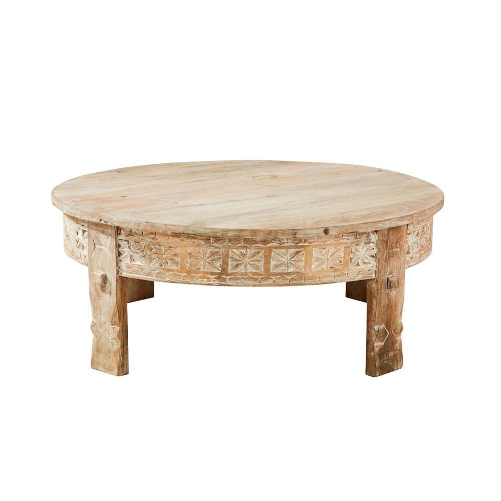 Tavolino da salotto rotondo in legno massello di mango scolpito