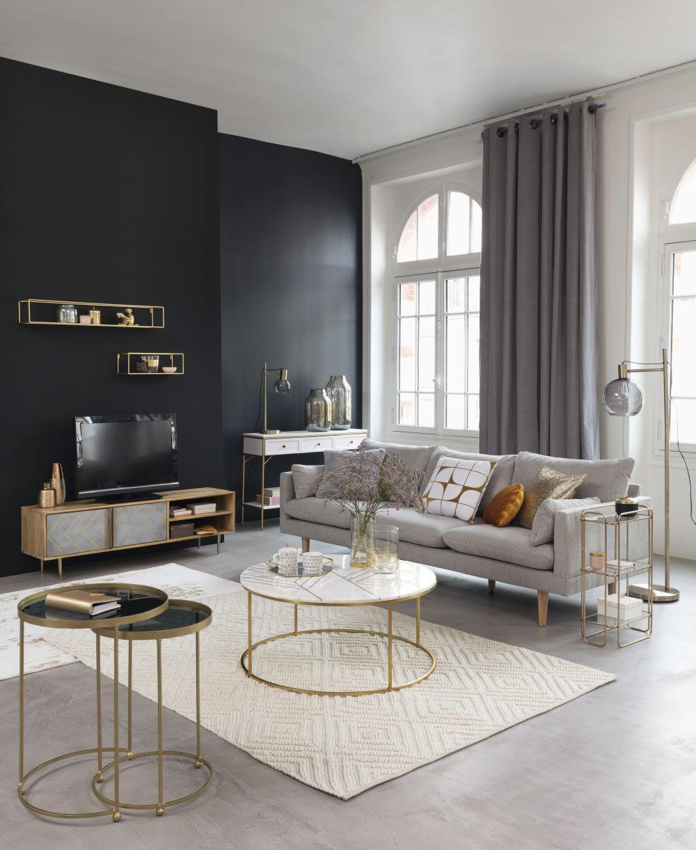Tavolino da salotto rotondo in marmo bianco e ferro dorato Izmir ...