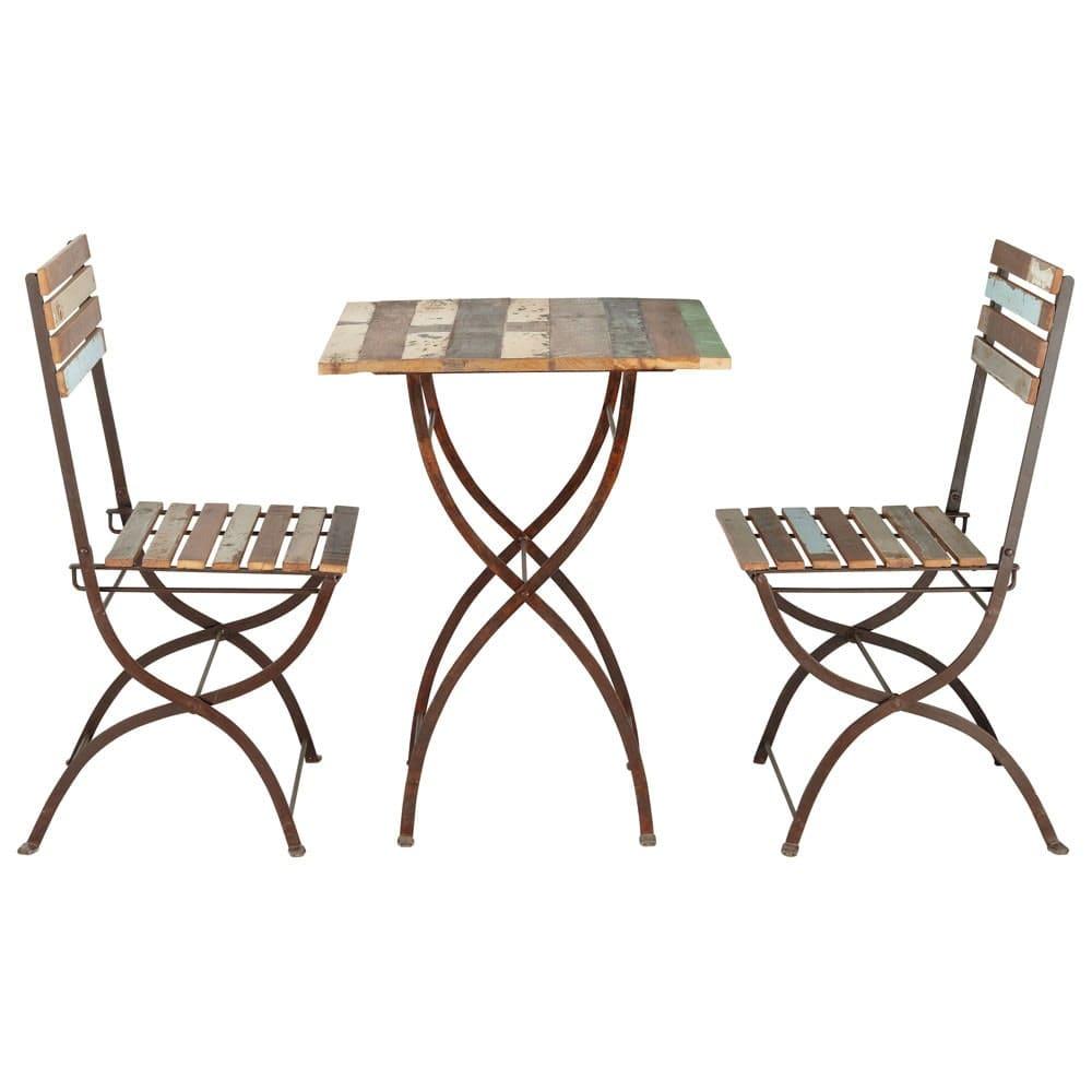 Sedie In Legno Riciclato.Tavolo 2 Sedie Da Giardino In Legno Riciclato E Metallo Effetto
