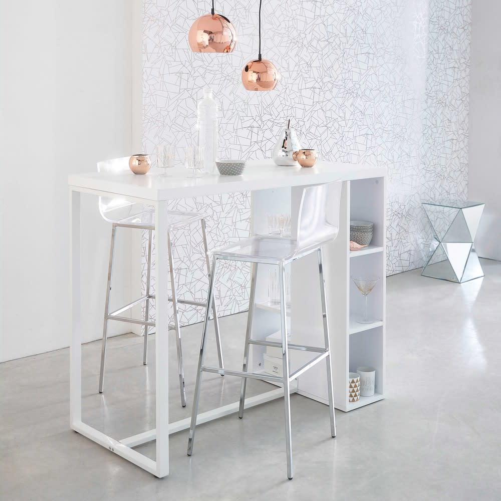 Tavolo alto bianco satinato per sala da pranzo in legno l for Tavoli per sala da pranzo legno