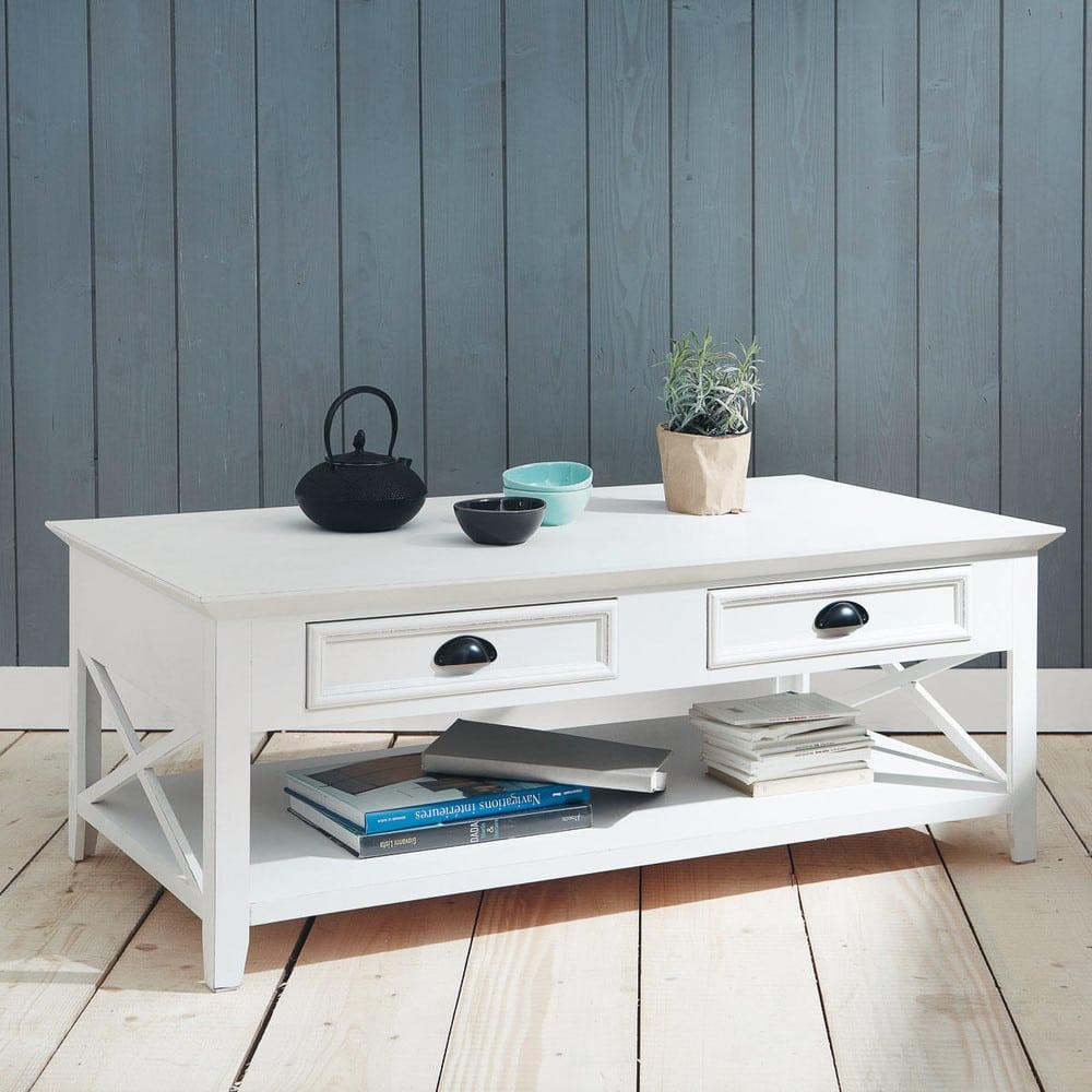 Tavolo basso bianco in legno l 120 cm newport maisons du for Tavolo bianco legno