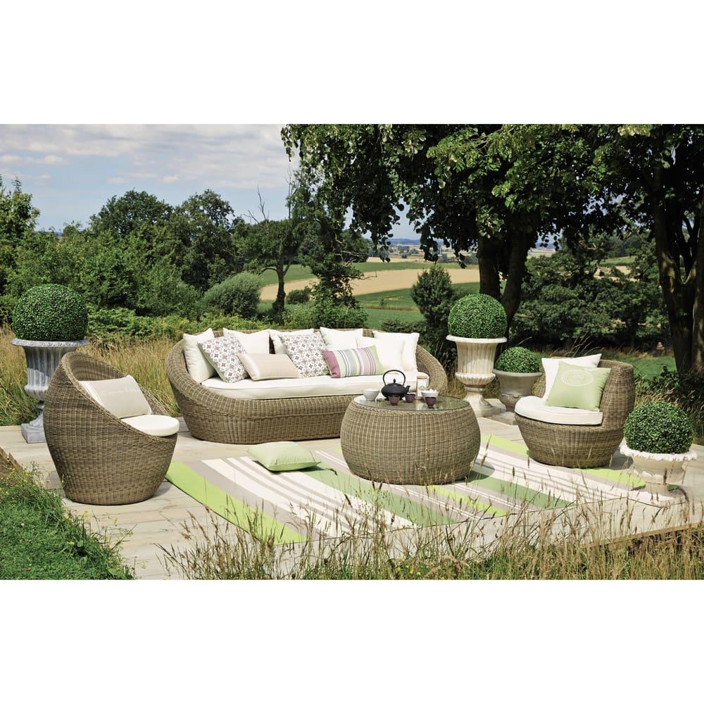 Tavolo basso da giardino in vetro temperato e resina for Negozi arredo giardino
