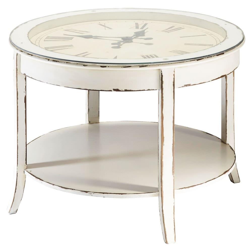 Tavolo basso rotondo bianco in vetro e legno anticato con orologio D ...