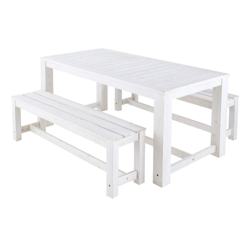 Tavolo Da Giardino Legno Bianco.Tavolo Bianco 2 Panche Da Giardino In Legno L 180 Cm Brehat