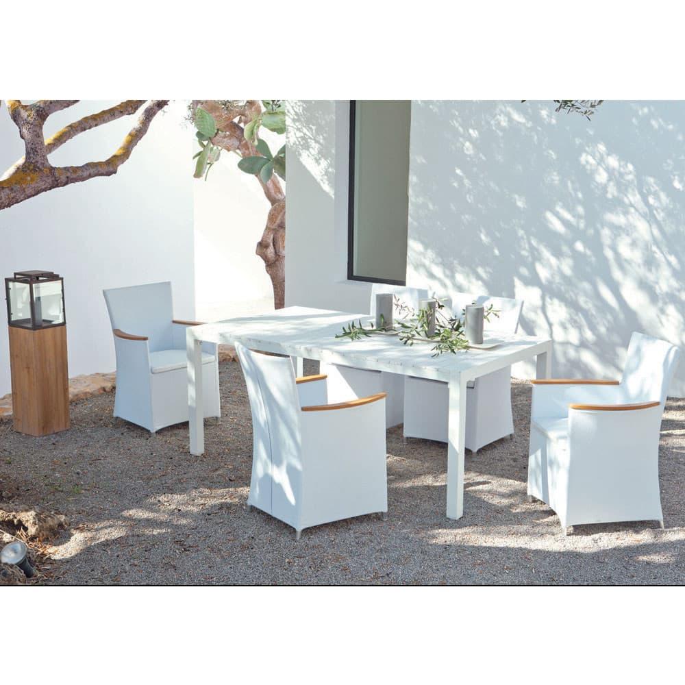 Tavoli Da Giardino Legno E Alluminio.Tavolo Bianco Da Giardino In Materiale Composito Simil Legno E
