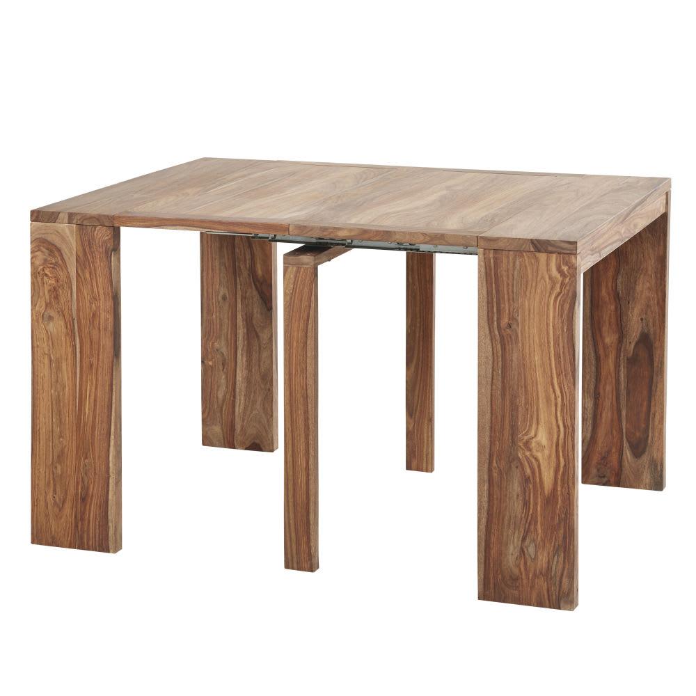 Tavolo consolle allungabile in legno massello di sheesham for Consolle tavolo