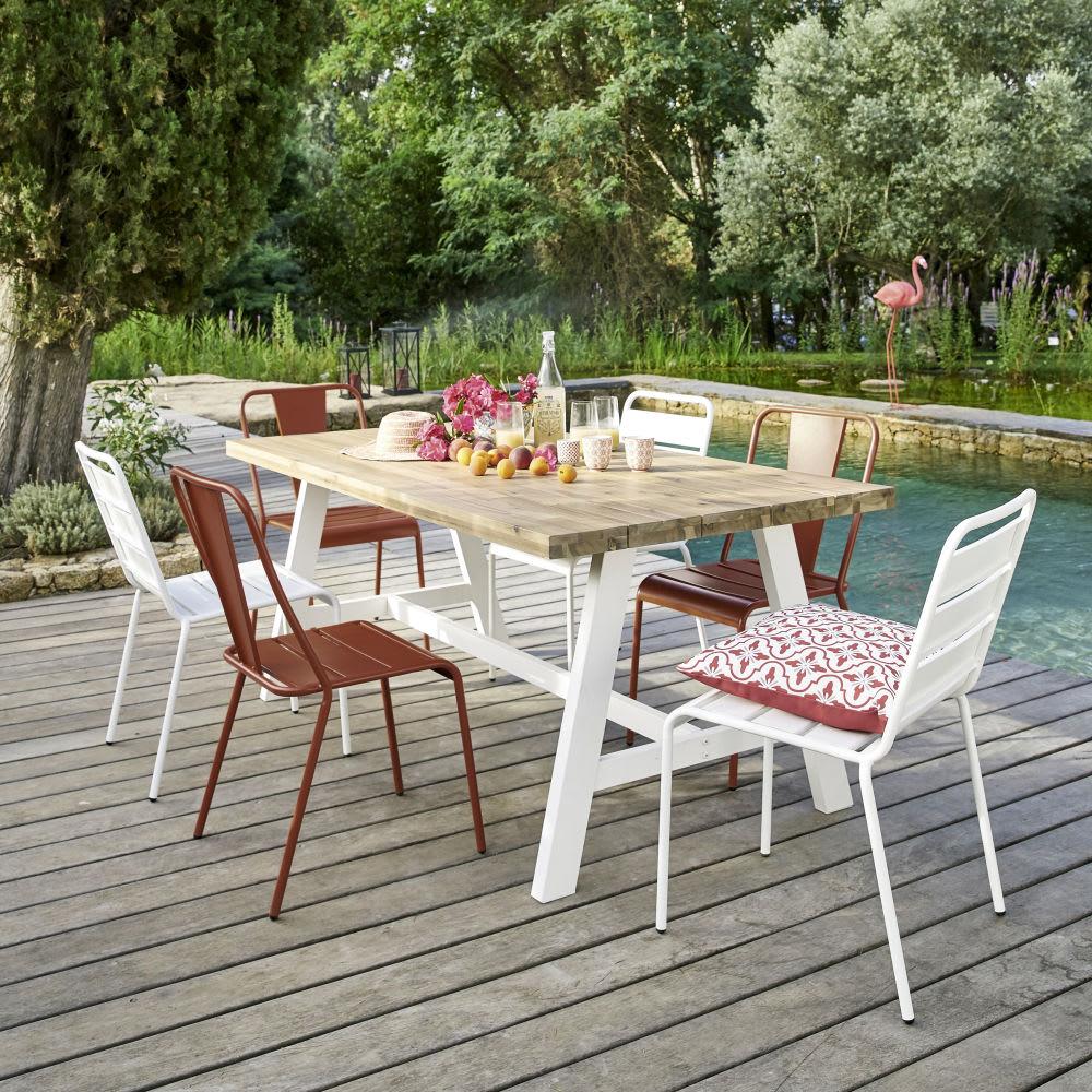 Tavoli Da Giardino Immagini.Tavolo Da Giardino 6 8 Persone In Acacia E Metallo Bianco 180 Cm