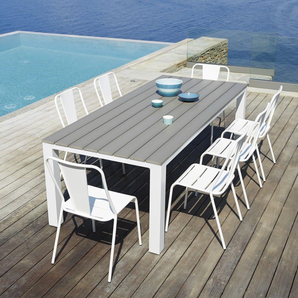 Tavolo da giardino 8 10 persone in alluminio e composito for Tavolo 10 persone