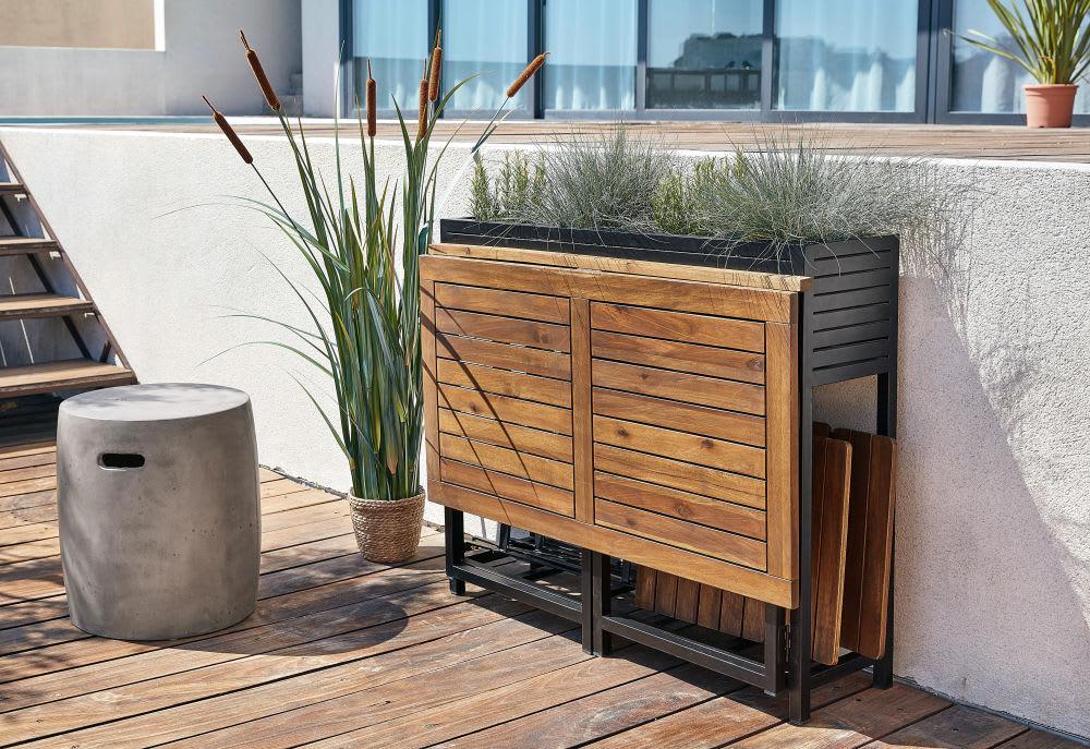 Tavolo da giardino e 2 sedie in legno massello di acacia e for Sedie da giardino in legno