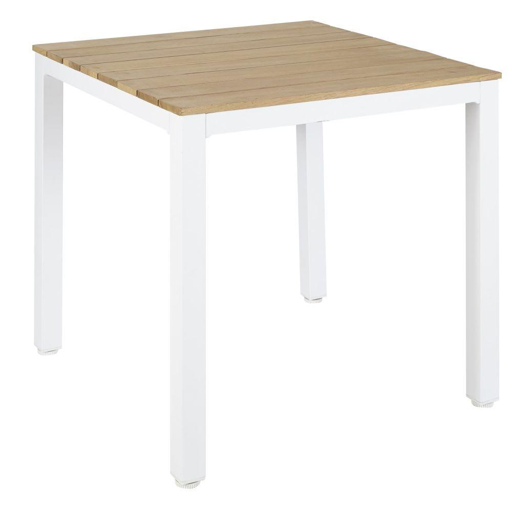 Tavolo Da Giardino Legno Bianco.Tavolo Da Giardino Professionale In Legno Di Teak E Metallo Bianco
