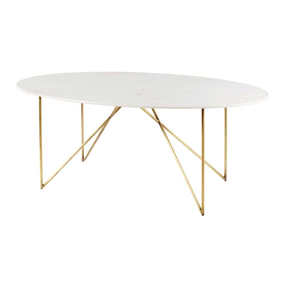 Tavolo da pranzo 4 6 persone in marmo bianco e ferro dorato 200 cm izmir maisons du monde - Dimensioni tavolo pranzo 12 persone ...