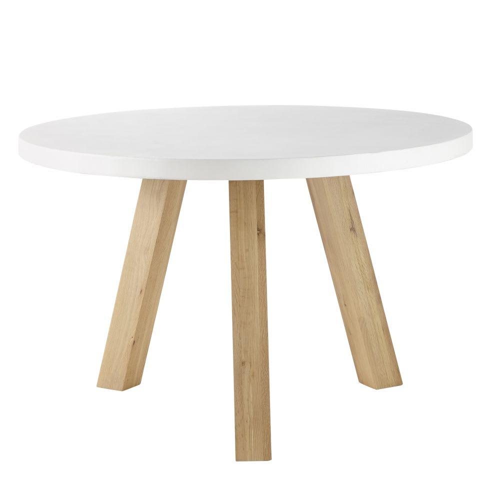 Tavolo da pranzo 5/6 persone in cemento bianco e legno di ...
