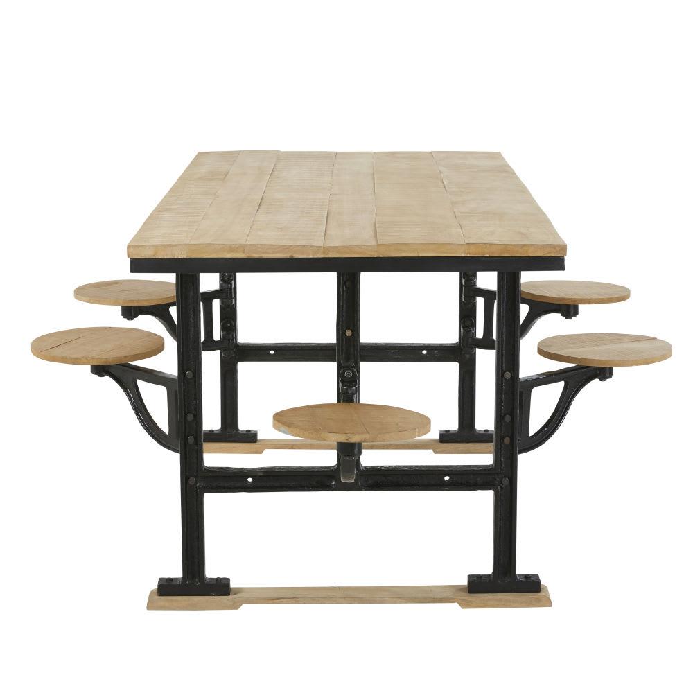 Tavolo da pranzo 8 persone con sgabelli in legno di mango e ghisa ...