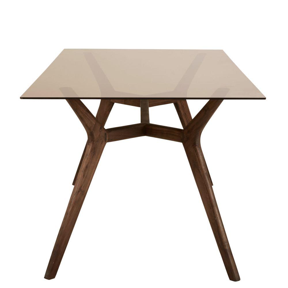 Tavolo da pranzo 8 persone in vetro e legno di acacia, 180 cm ...