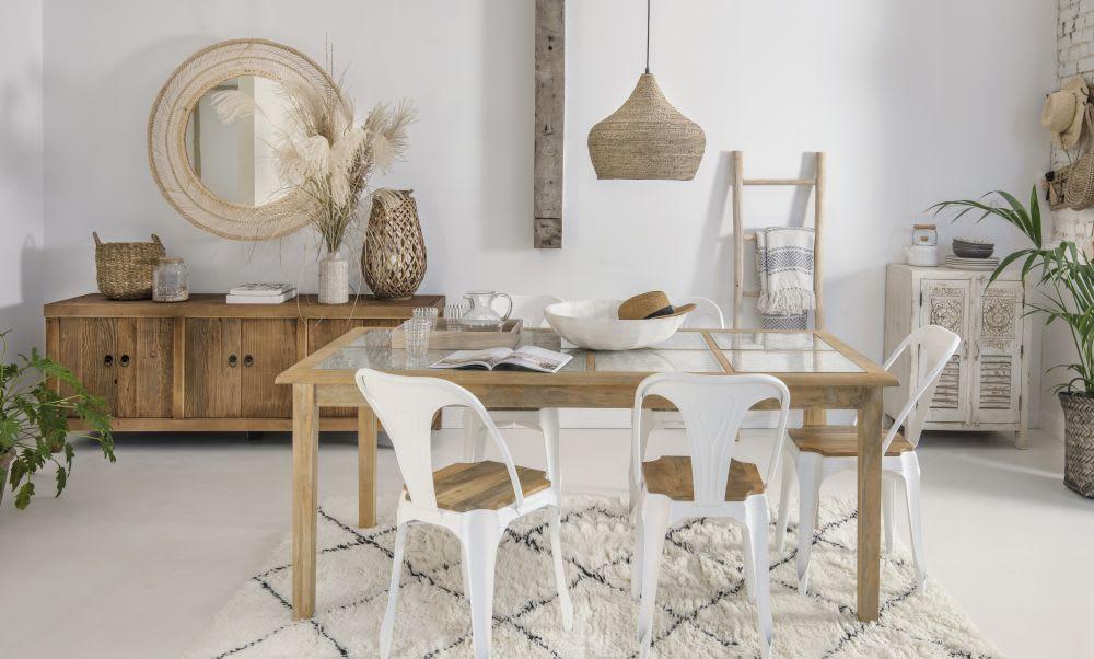 Tavolo Da Pranzo In Vetro : Tavolo da pranzo in legno massello di mango e vetro 8 persone l 190