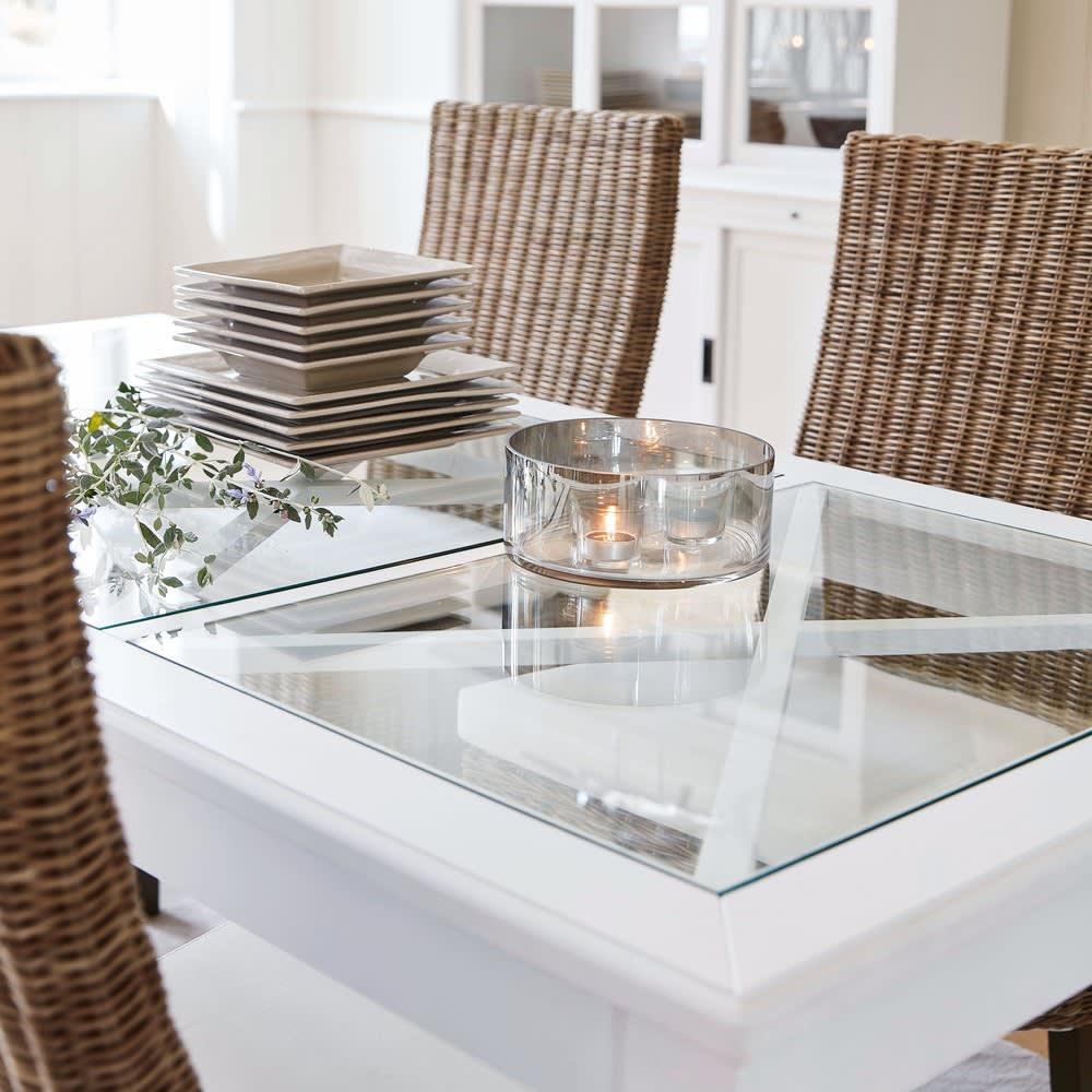 Tavolo da pranzo in pino bianco e vetro temprato 8 persone L180 ...