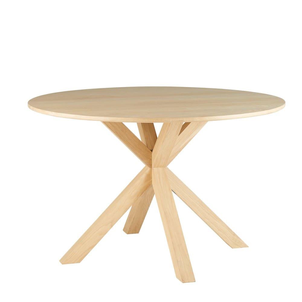 Tavolo da pranzo rotondo 6 persone in legno massello di quercia, d ...