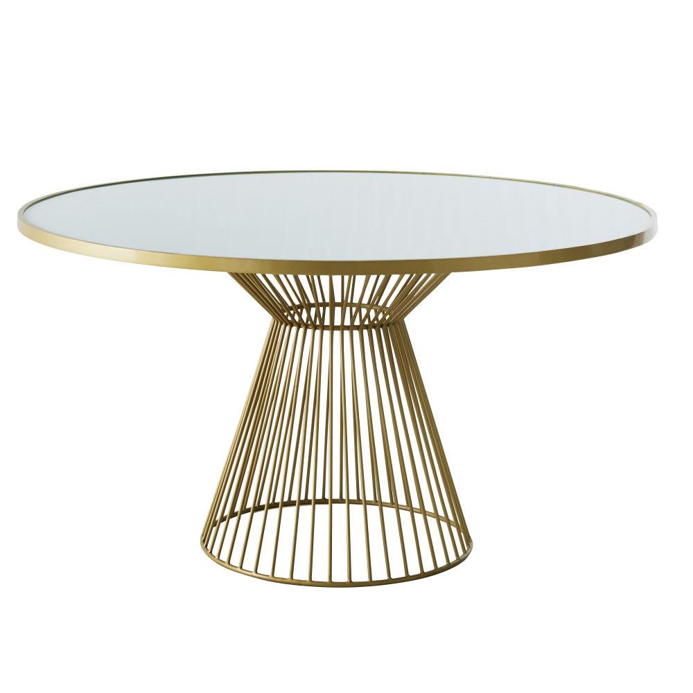 Tavoli Da Pranzo Rotondi In Vetro.Tavolo Da Pranzo Rotondo 6 Persone In Vetro Sbiancato 140 Cm