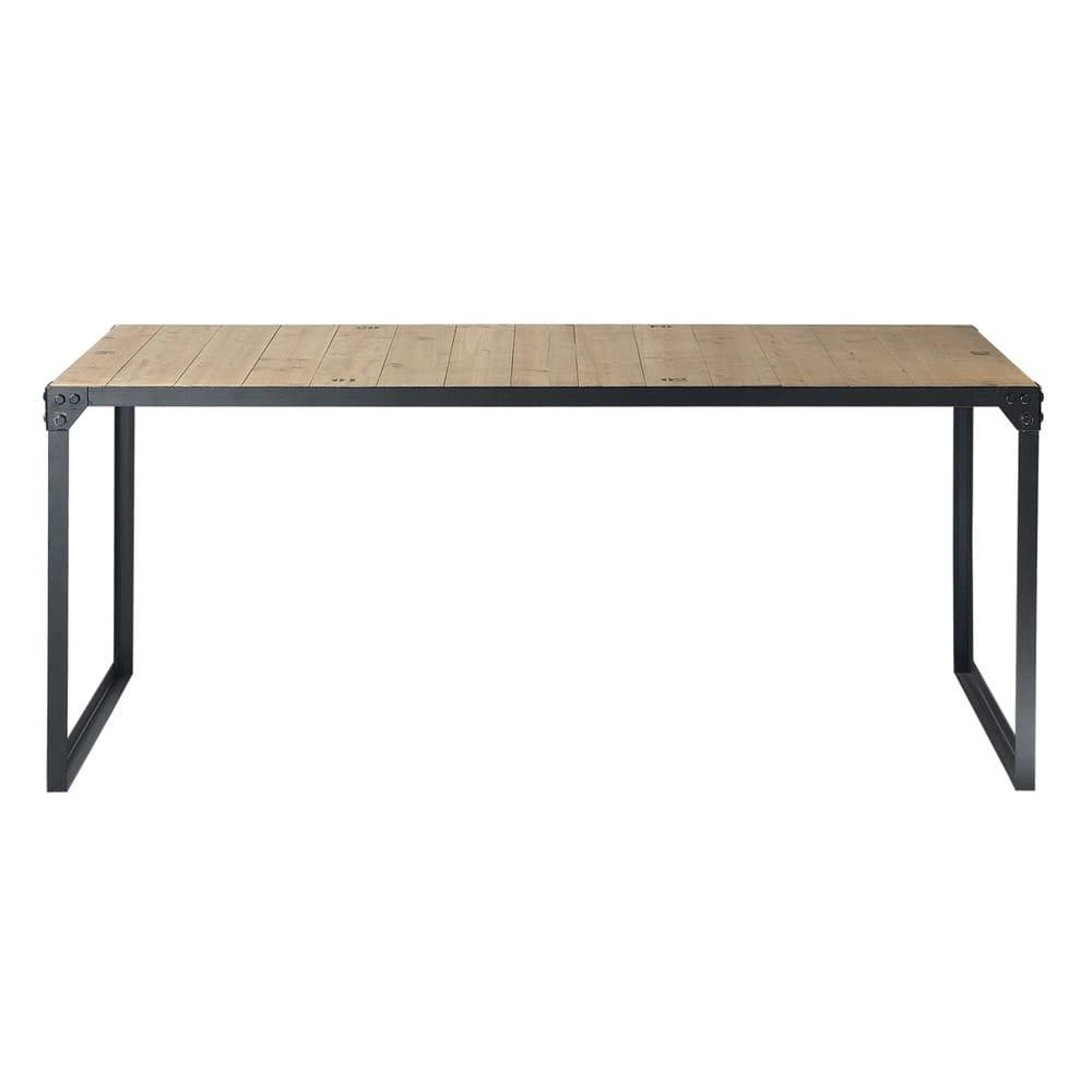 Tavolo da pranzo stile industriale in abete e metallo 8 persone 180 cm docks maisons du monde - Dimensioni tavolo da pranzo 4 persone ...
