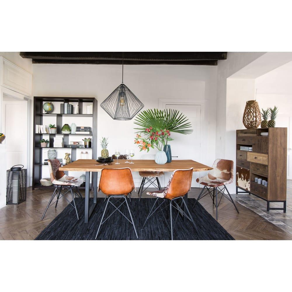 Tavoli Da Pranzo In Stile.Tavolo Da Pranzo Stile Industriale In Acacia E Metallo Nero 200 Cm