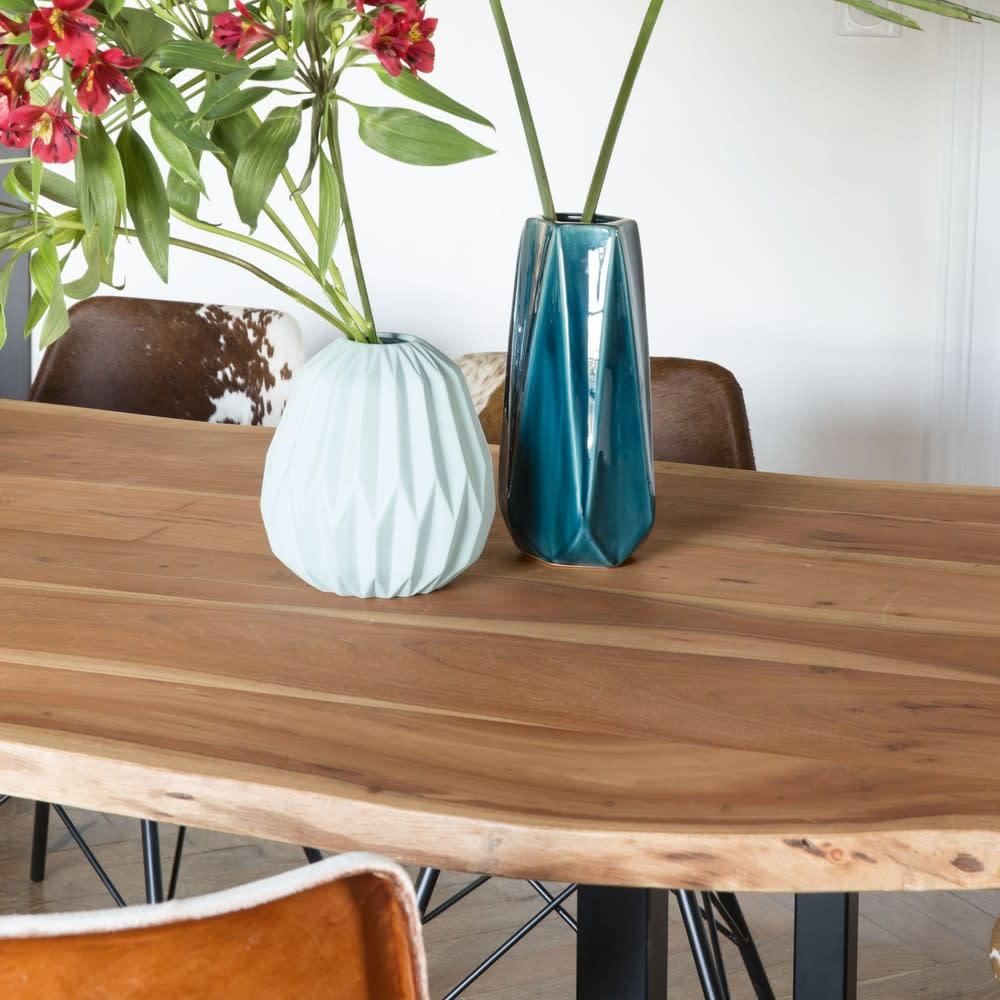 Tavolo da pranzo stile industriale in acacia e metallo ...