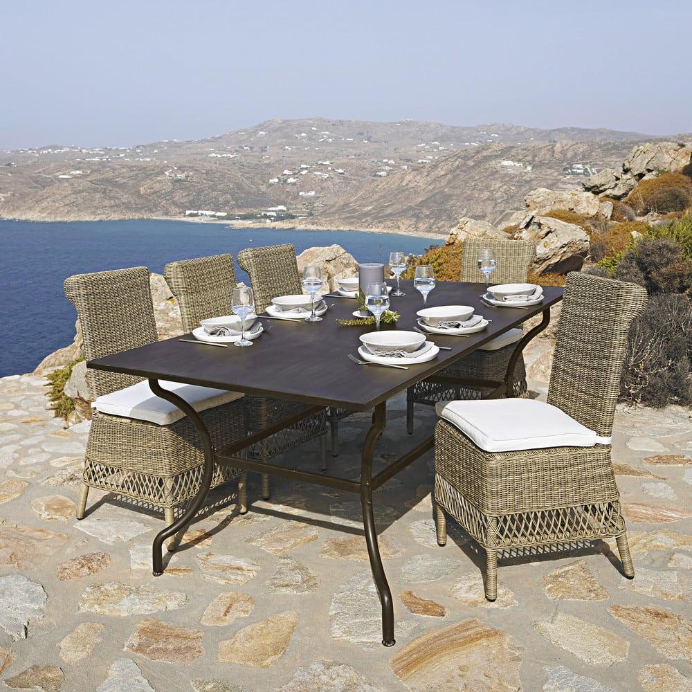 Tavolo marrone da giardino in ferro battuto L 200 cm ...