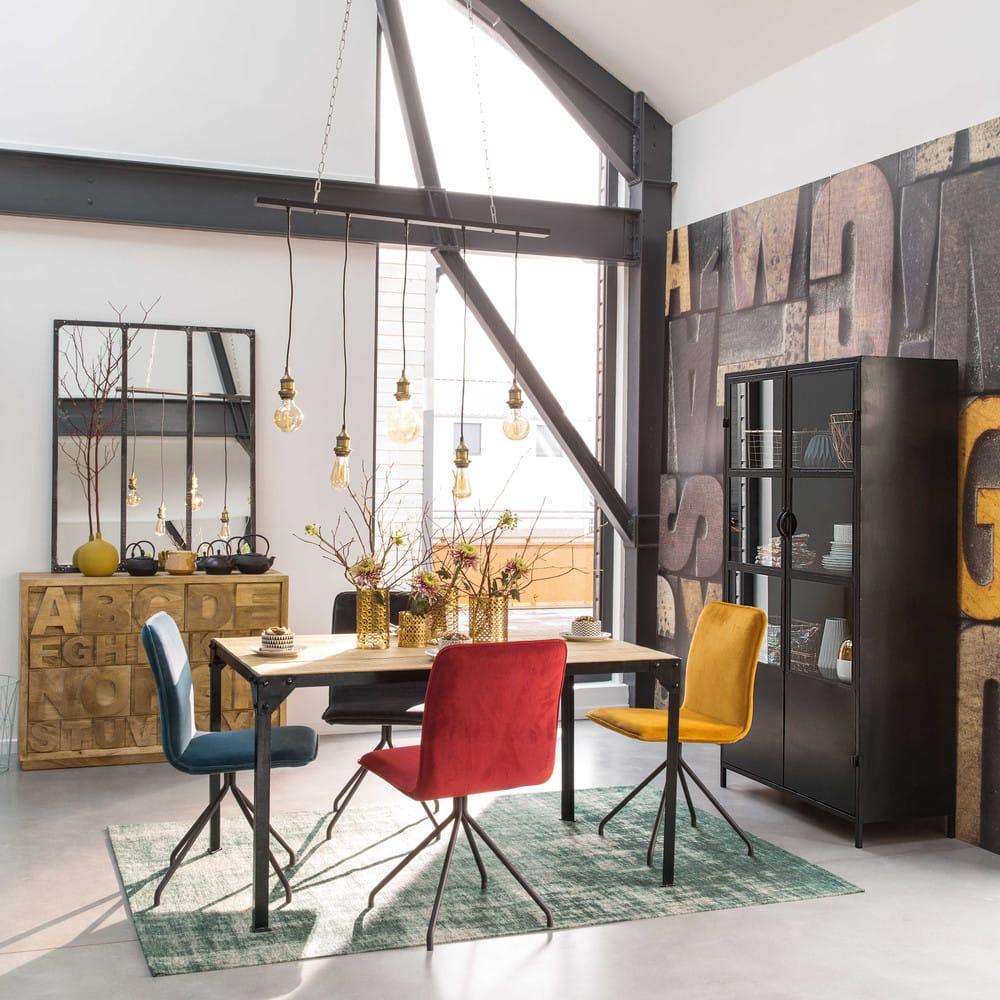 Tavolo per sala da pranzo in legno massello di mango e metallo nero ...