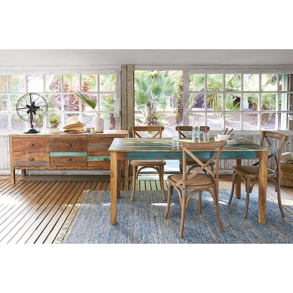Tavolo per sala da pranzo in legno riciclato effetto anticato l 160 cm calanque maisons du monde - Legno adatto per tavolo ...