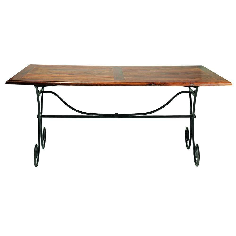 Tavolo per sala da pranzo in massello di legno di sheesham e ferro ...