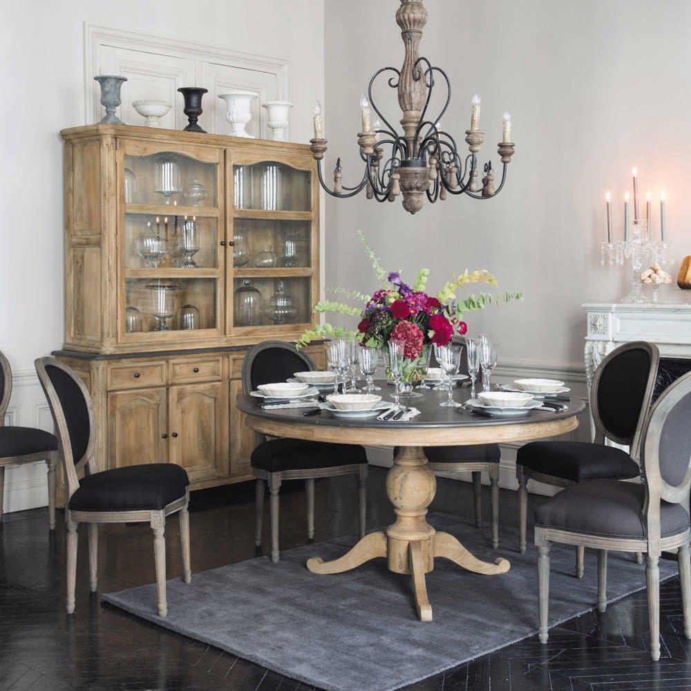 Tavolo rotondo grigio ardesia per sala da pranzo in legno for Tavolo legno per sala da pranzo