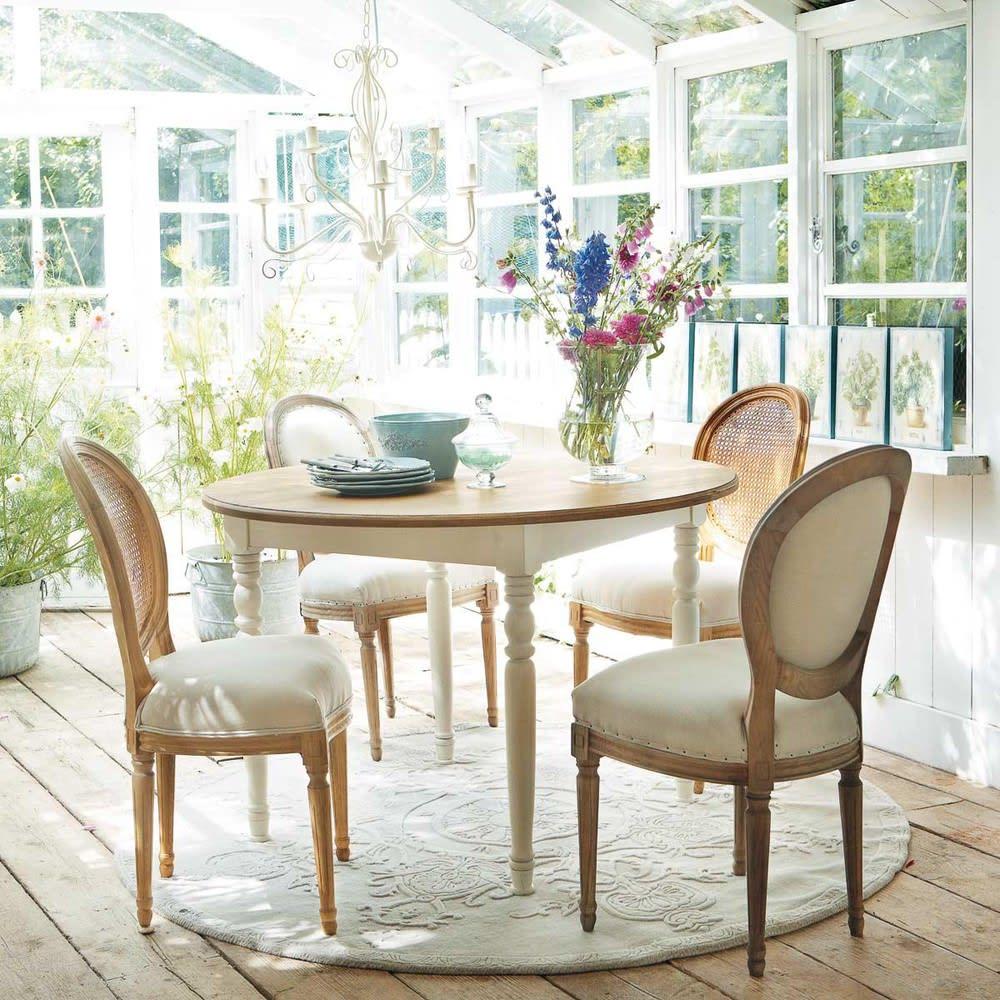 Tavolo rotondo per sala da pranzo color crema 120 cm for Tavolo rotondo da pranzo