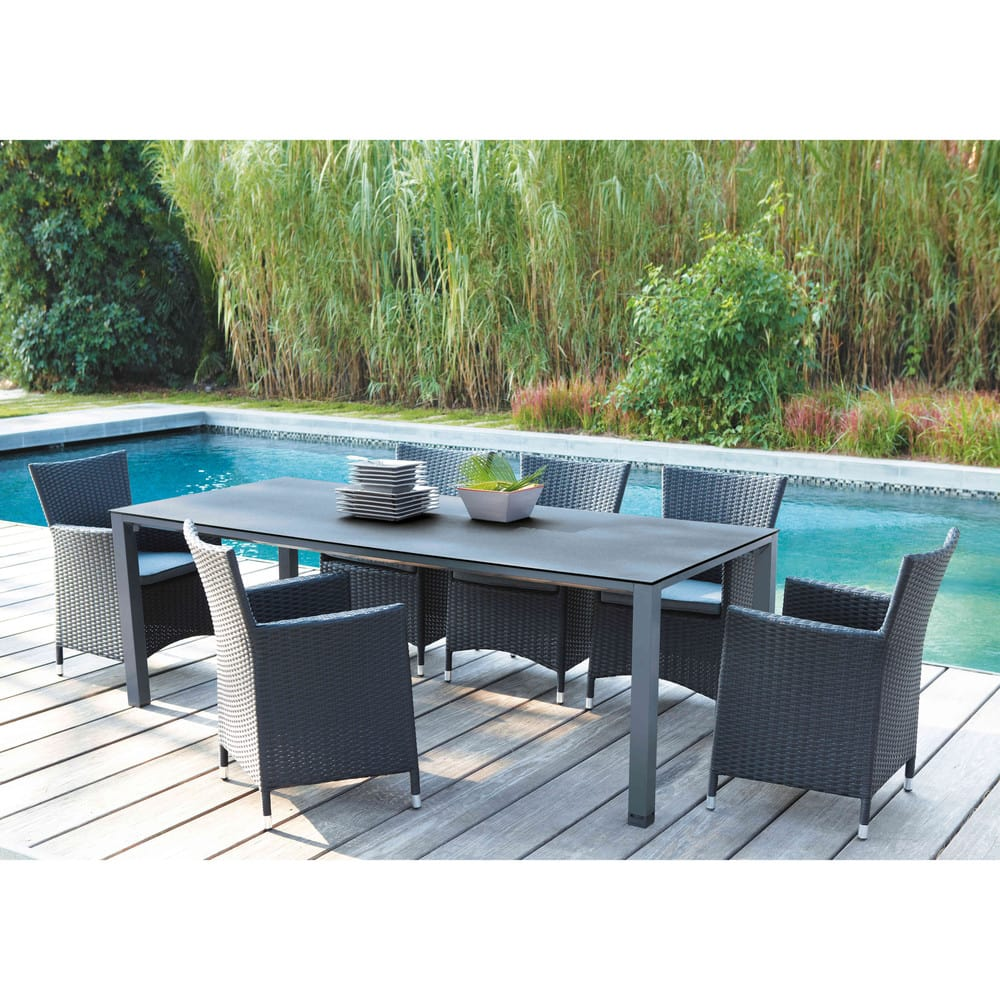 Tempered Glass And Aluminium Garden Table In Charcoal Grey W 220cm Square  Garden