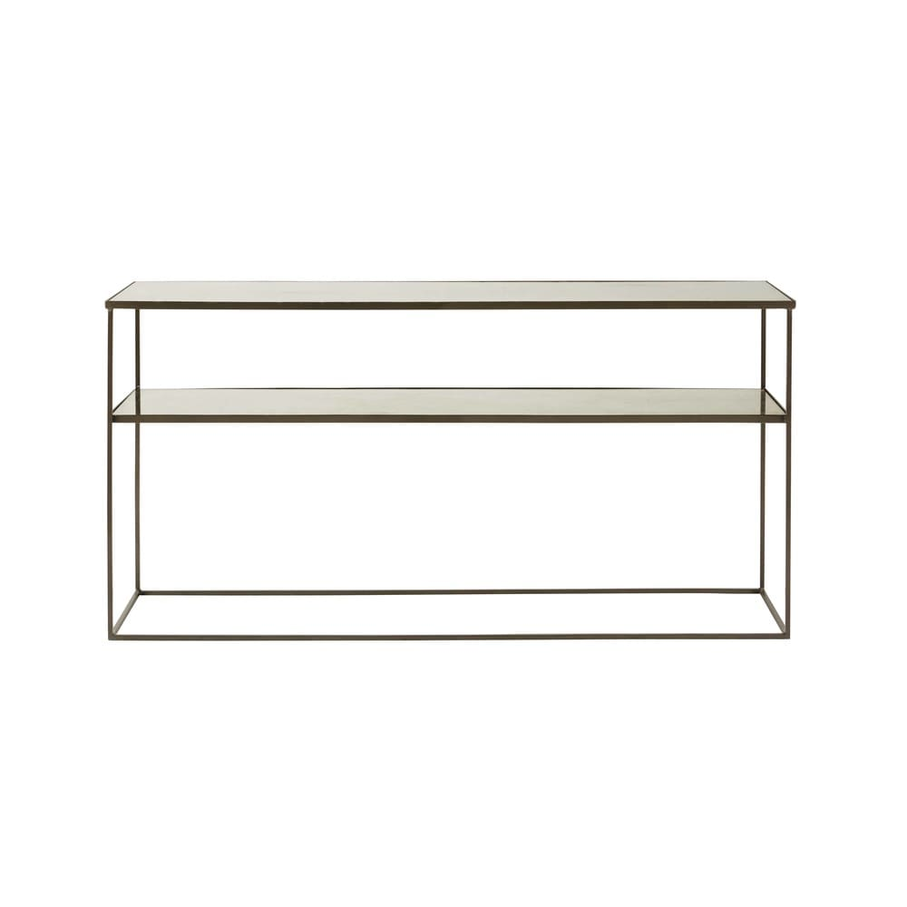 Tempered Glass and Grey Iron Console Table Calixte | Maisons du Monde