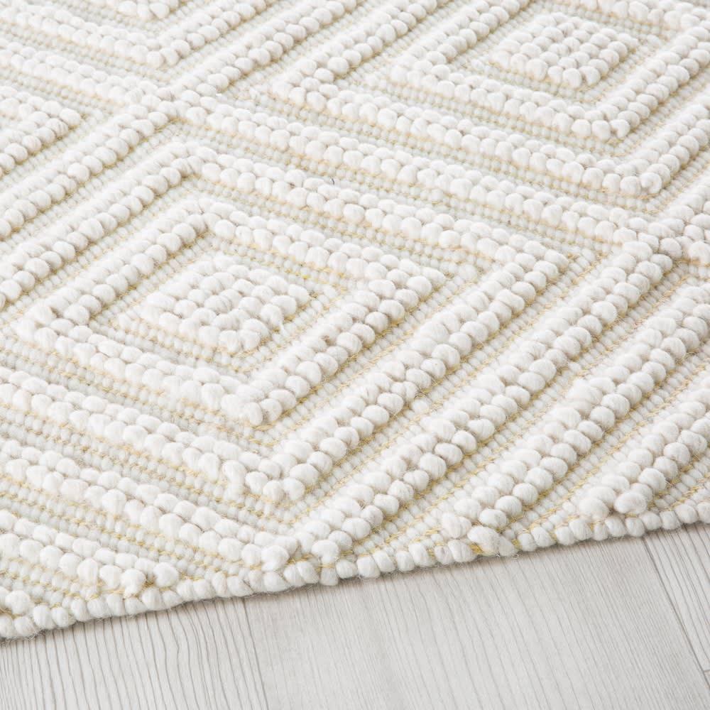 teppich aus wolle und baumwolle ecrufarben mit grafischen. Black Bedroom Furniture Sets. Home Design Ideas