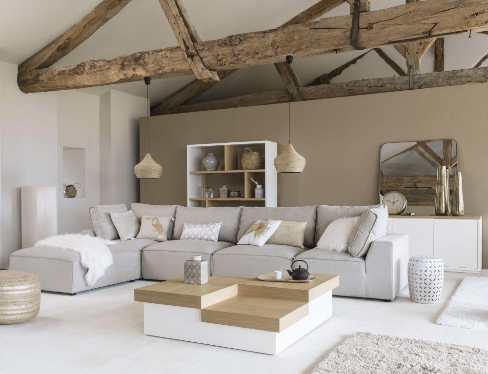 teppich aus wolle und baumwolle in ecru mit shaggy effekt. Black Bedroom Furniture Sets. Home Design Ideas