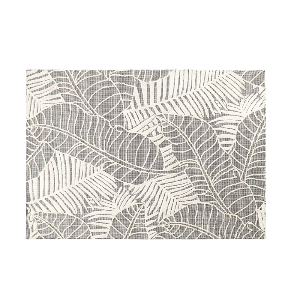 teppich in grau mit blattmotiven in ecru 140x200 liana. Black Bedroom Furniture Sets. Home Design Ideas