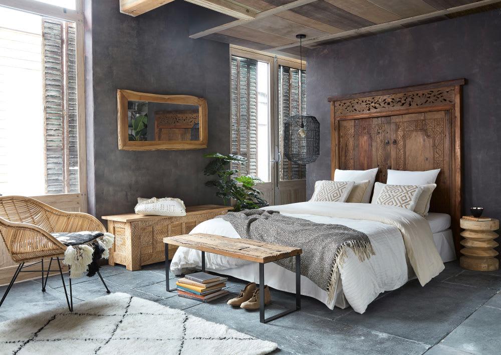 Testata da letto 160 cm in legno riciclato scolpito