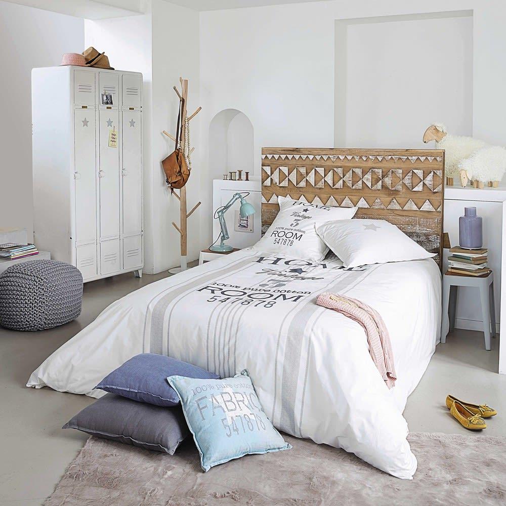 Testata da letto a motivi in legno riciclato L 140 cm Tikka ...