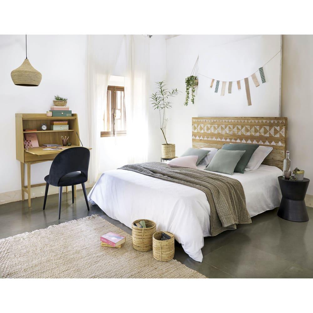 Testata da letto a motivi in legno riciclato L 140 cm