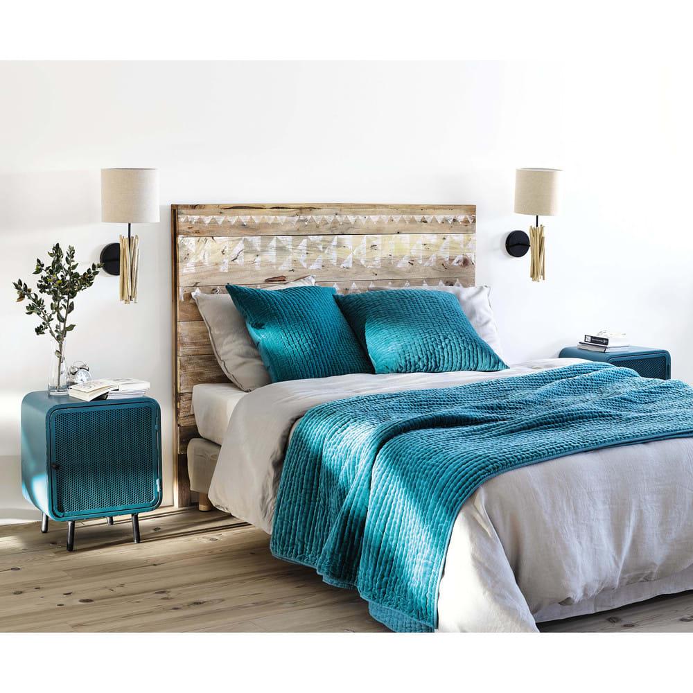 testata da letto a motivi in legno riciclato l 160 cm