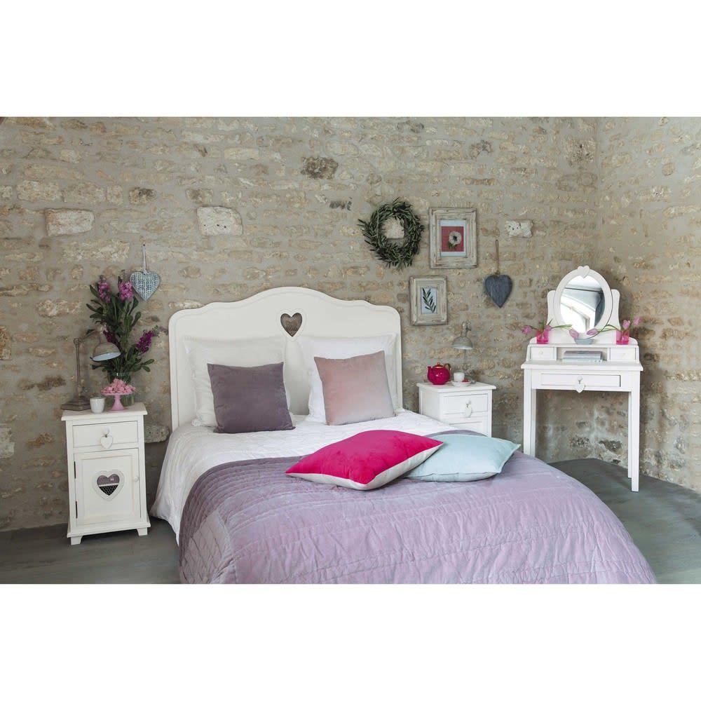 Testata da letto bianca in legno l 140 cm valentine maisons du monde - Testata letto in legno ...