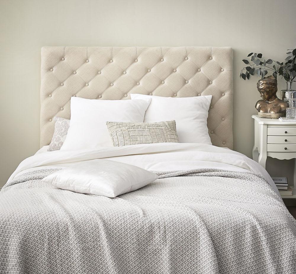 Testata da letto imbottita in lino L 140 cm Chesterfield | Maisons ...
