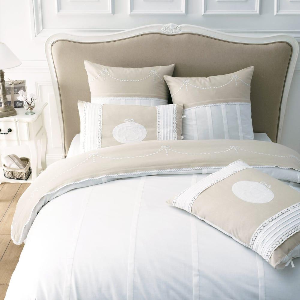 Testata da letto in massello di legno e cotone L 160 cm Joséphine ...