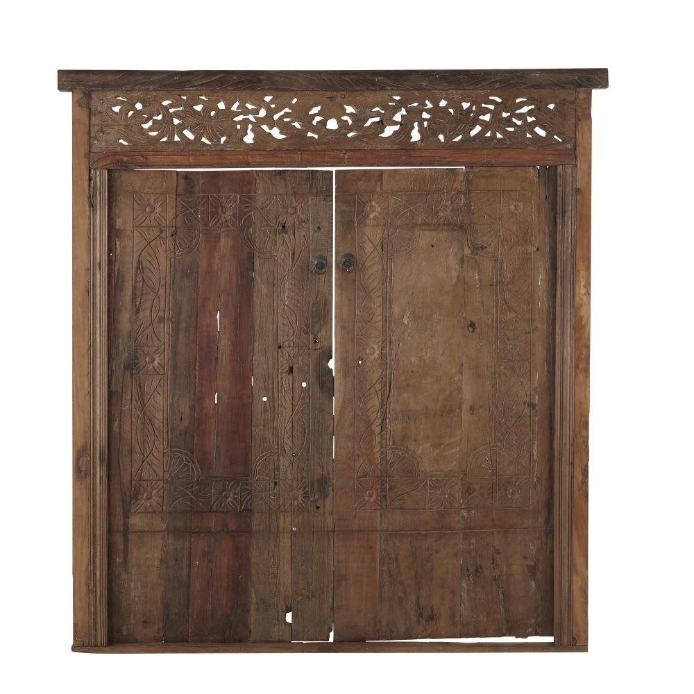t te de lit 160 en bois recycl sculpt mysore maisons. Black Bedroom Furniture Sets. Home Design Ideas