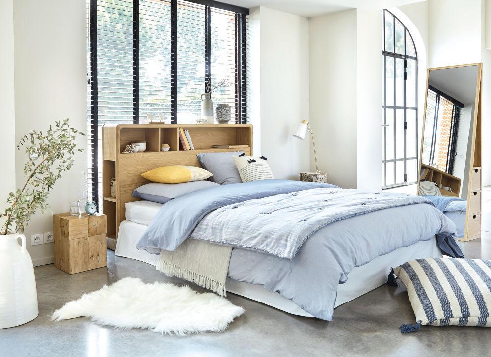 Tête de lit 160 en chêne massif avec rangements Canopy | Maisons du Monde