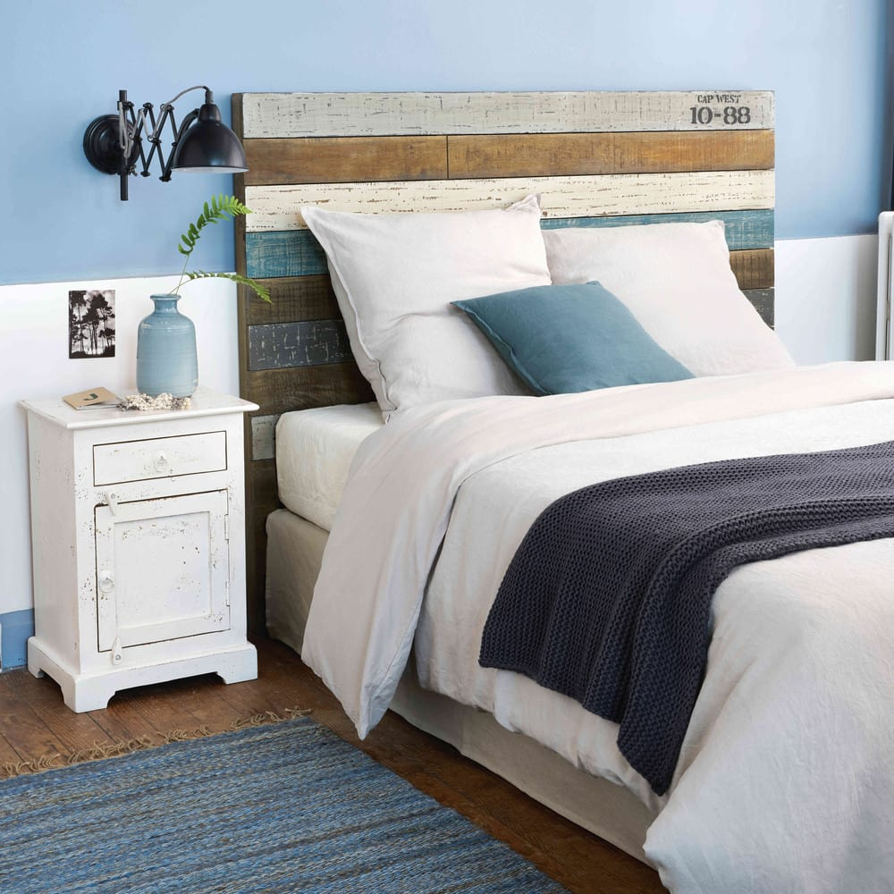 t te de lit 160 en lattes de manguier sailor maisons du. Black Bedroom Furniture Sets. Home Design Ideas