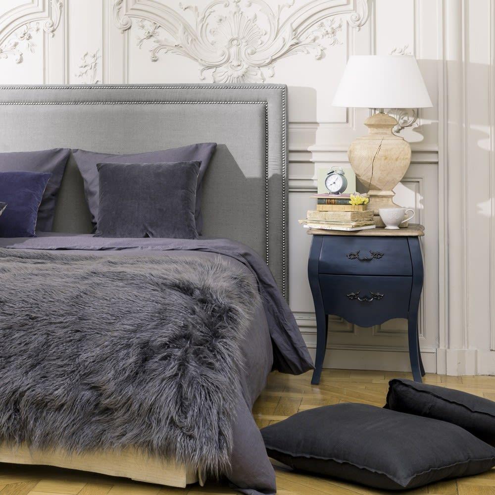 t te de lit 160 en lin gris bleu elise maisons du monde. Black Bedroom Furniture Sets. Home Design Ideas
