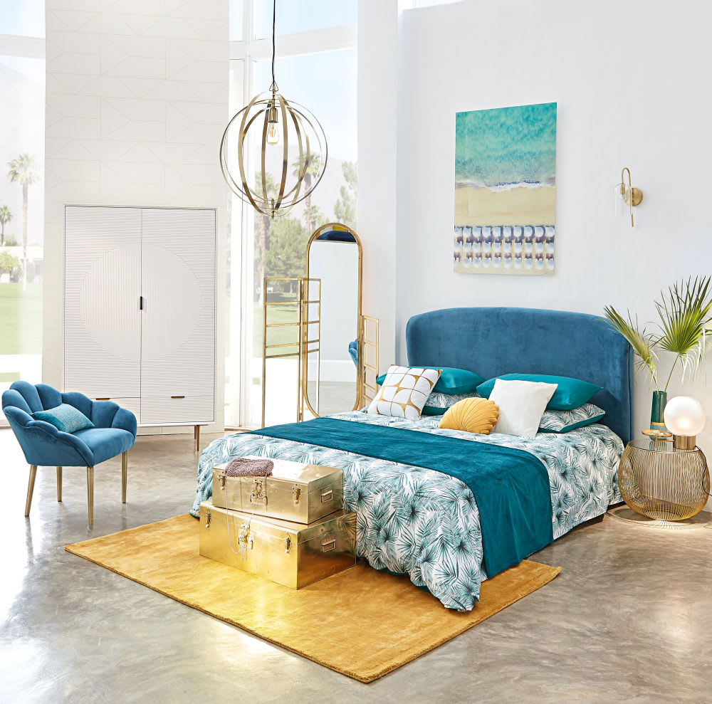 t te de lit 160 en velours bleu tara maisons du monde. Black Bedroom Furniture Sets. Home Design Ideas