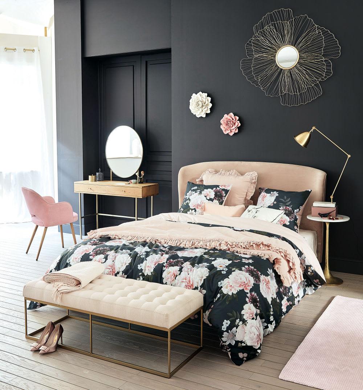 t te de lit 160 en velours rose tara maisons du monde. Black Bedroom Furniture Sets. Home Design Ideas